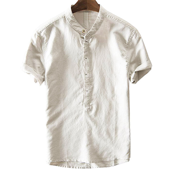 Men's Cotton Linen Quick-drying Loose Short-sleeved Shirts