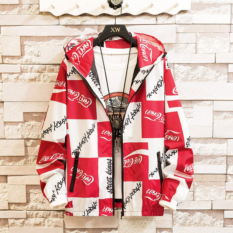 Men's Fashion Letter Print Casual Hoodies Jacket