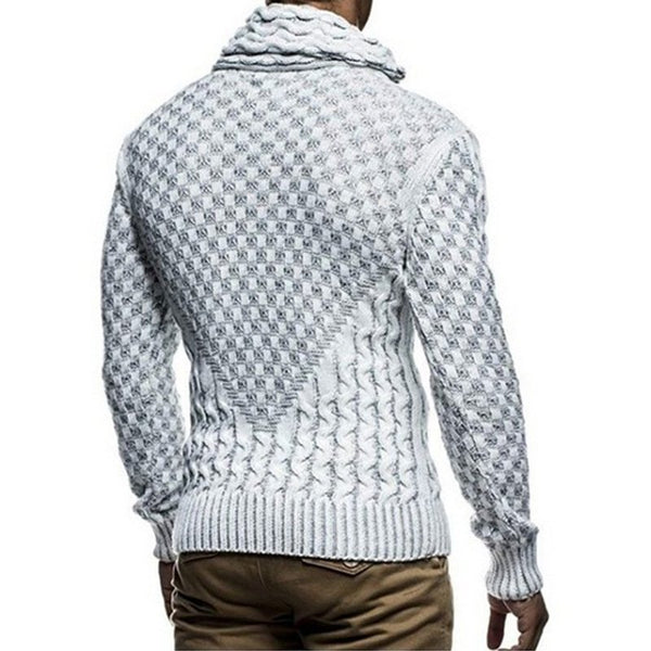 Men's Thicken Jacquard Pullover High Collar Sweater