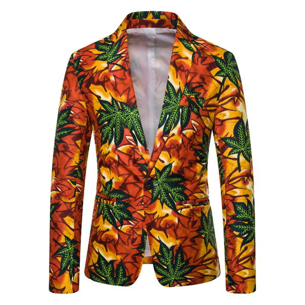 As Picture Printed Lapel Cotton-Blend Casual Outerwear