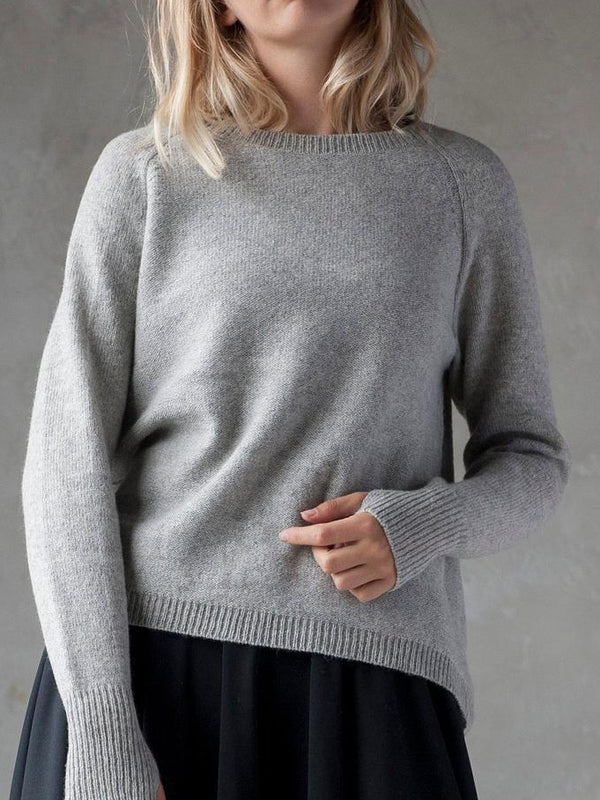 Gray Casual Knitted Sweatshirt