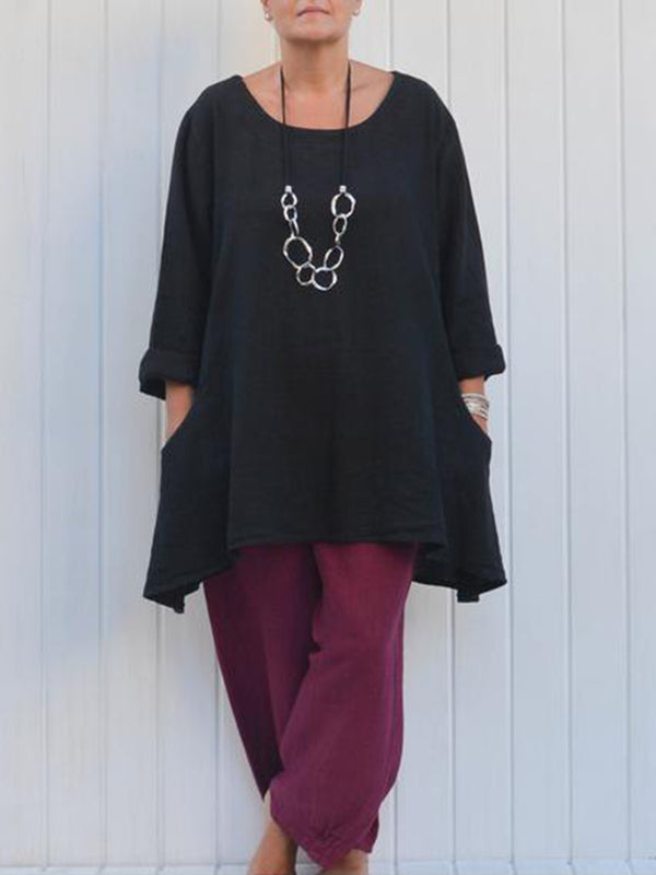 Round Neck Solid Asymmetrical Pockets Blouse