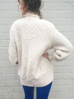 White Cotton-Blend Boho Sweater