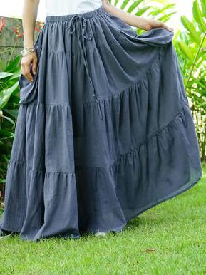 Blue Solid Casual Cotton-Blend Skirts