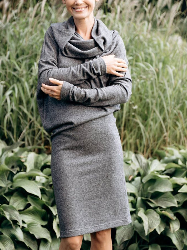 Gray Cotton-Blend Casual Dresses