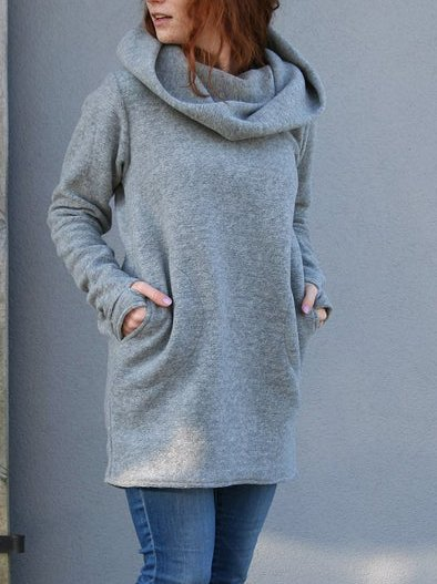 Gray Boho Cotton-Blend Sweatshirt
