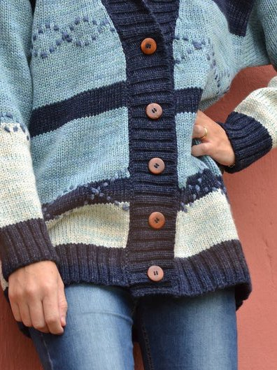 Blue Knitted Boho Sweater