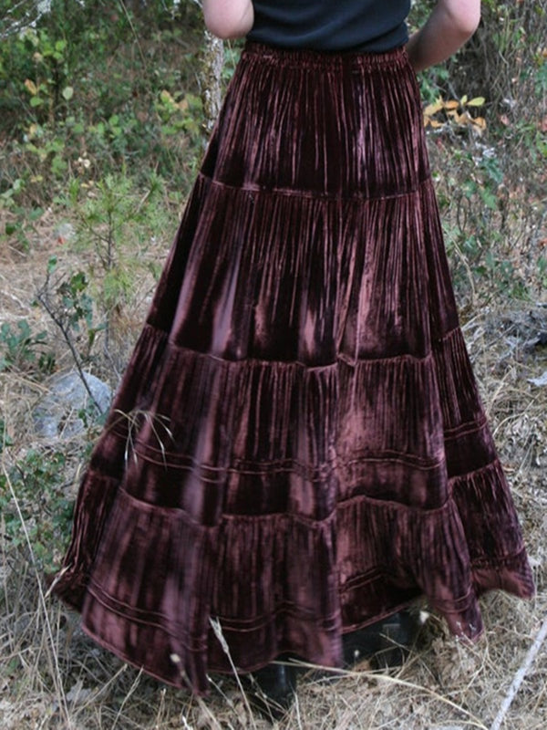 Purplish Red Velvet Casual Skirts