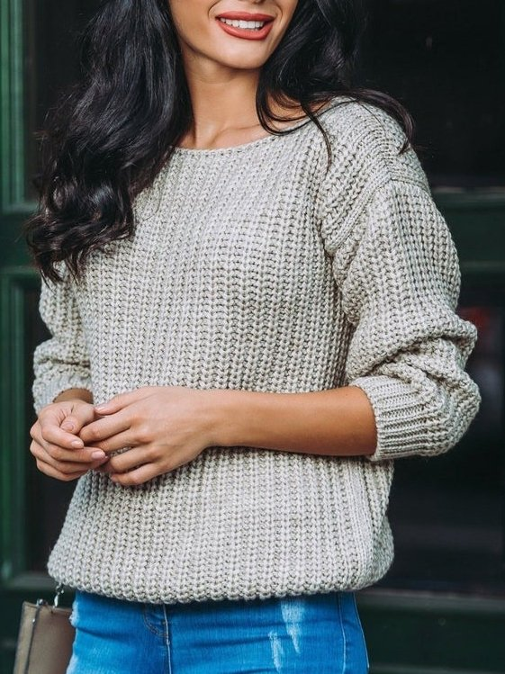 Gray Knitted Casual Sweater
