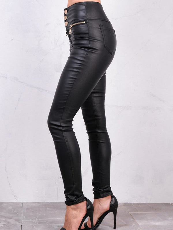 Black Casual Faux Leather Pants