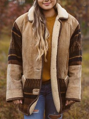 Brown Boho Faux Leather Outerwear