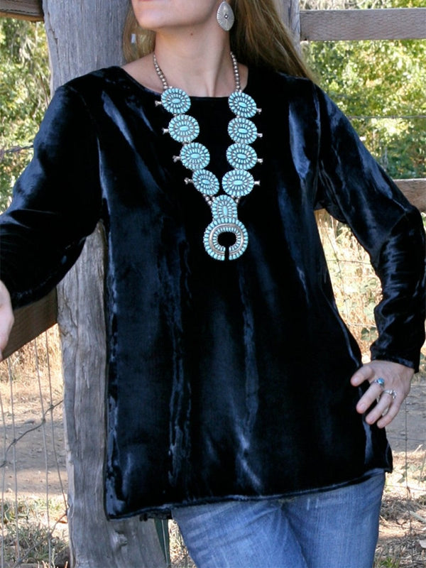 Black Velvet Long Sleeve Crew Neck Shirts & Tops