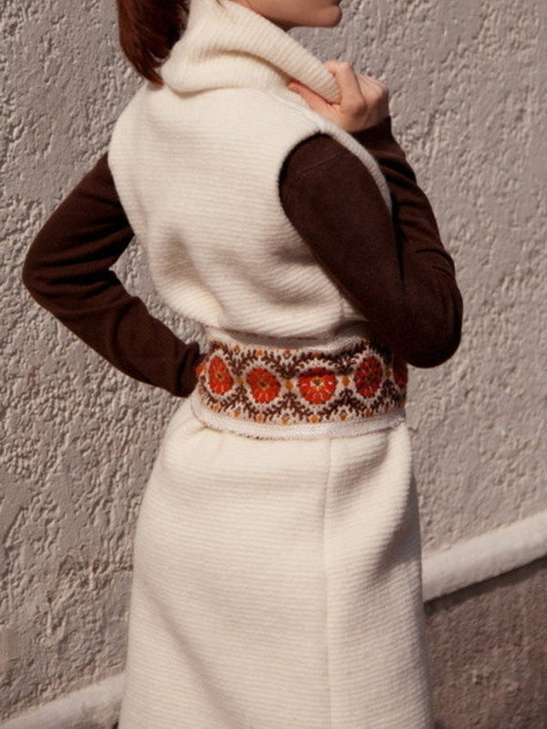 White Knitted Sexy Long Sweater Dress
