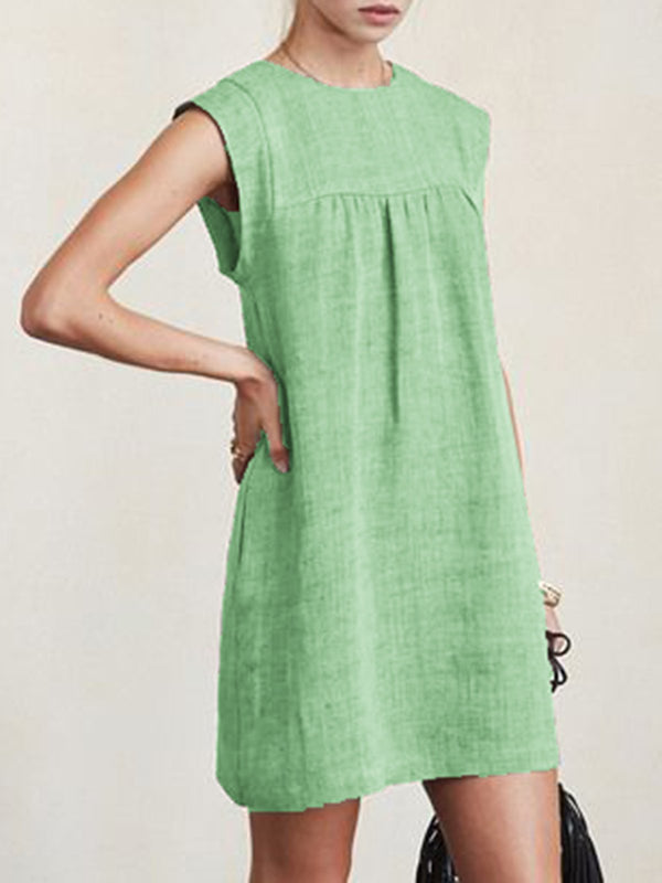 Women Casual Linen Solid Dresses