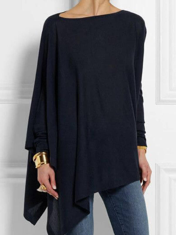 Navy Blue Round Neck Long Sleeve Cotton-Blend Shirts & Tops