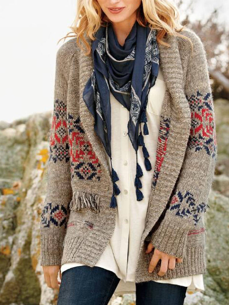 Long Sleeve Printed Round Neck Outerwear