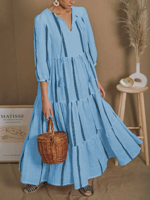 V Neck 3/4 Sleeve Casual Dresses
