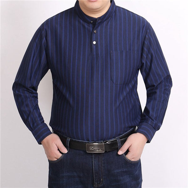 Plus Size Loose Stand Collar Long-sleeved T-shirts Men's Middle-aged Dad Top