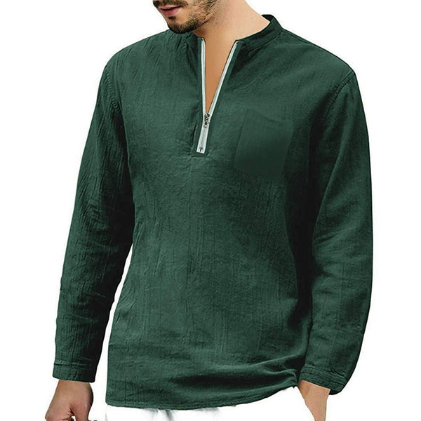 Men's Casual Linen Long-sleeved Zipper Stand Collar T-shirts