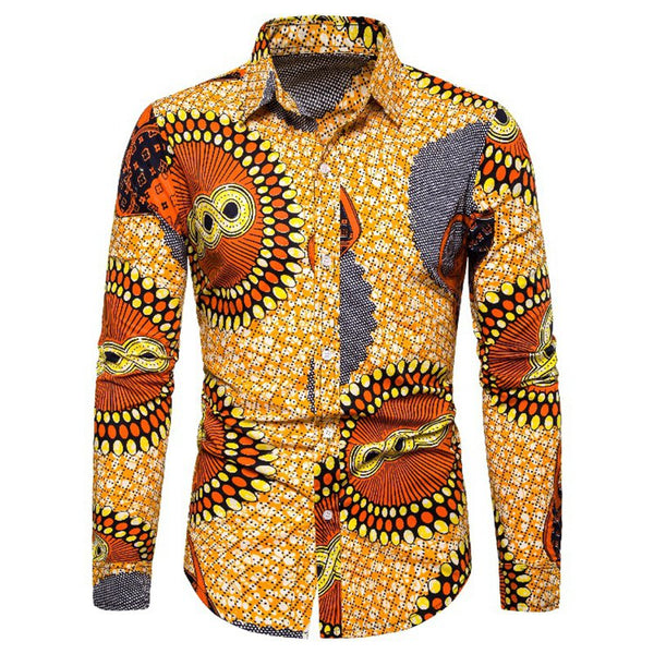 Ethnic Style Personality Men's Casual Long-sleeved Shirts