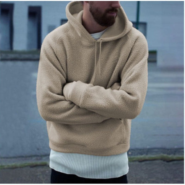 Men's Solid Color Long Sleeve Hooded Plush Sweater
