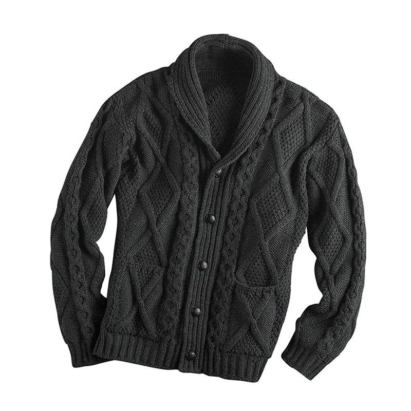 Men's Solid Color Long-sleeved Lapel Cardigan Sweaters