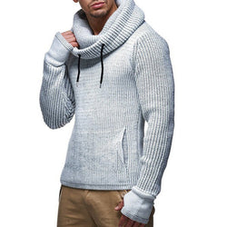 Men's Solid Color Knitted Turtleneck Pullovers