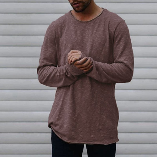 Men's Long Sleeve Solid Color Casual T-Shirts