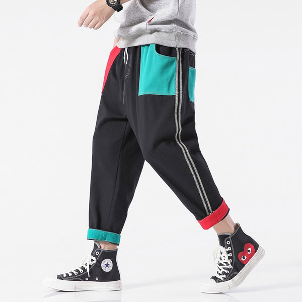 Men's Fashion Color-block Loose Casual Sweatpants Nine Pants