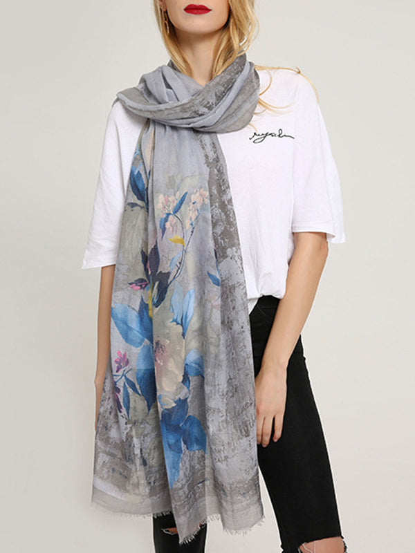 Womens Cotton Flower Scarves