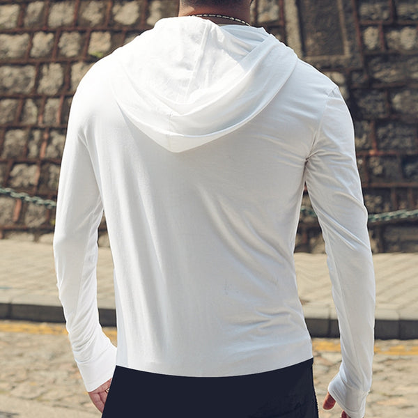 Men's Casual Solid Color Hooded Long Sleeve T-shirts