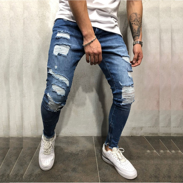 Men's Knee Hole Slim Feet Jeans