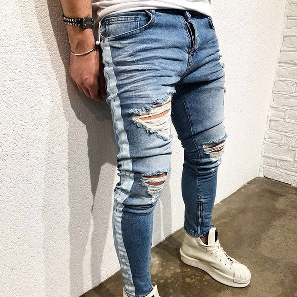 Men's Hole Zipper Slim Feet Pants Side Print Striped Jeans