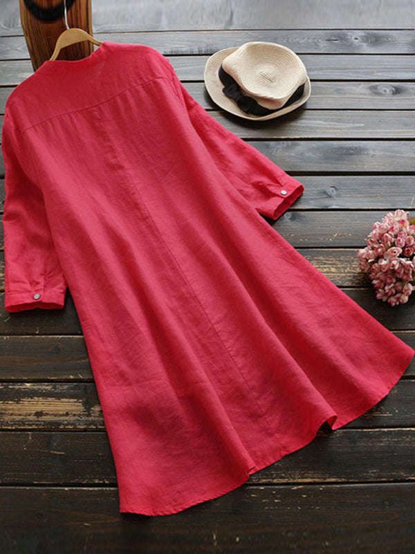 Casual  Loose Irregular Hem Long Sleeve Button Blouse