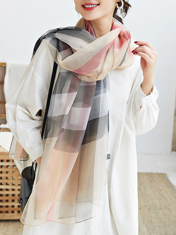 Khaki Checkered/plaid Printed Silk-Blend Scarves