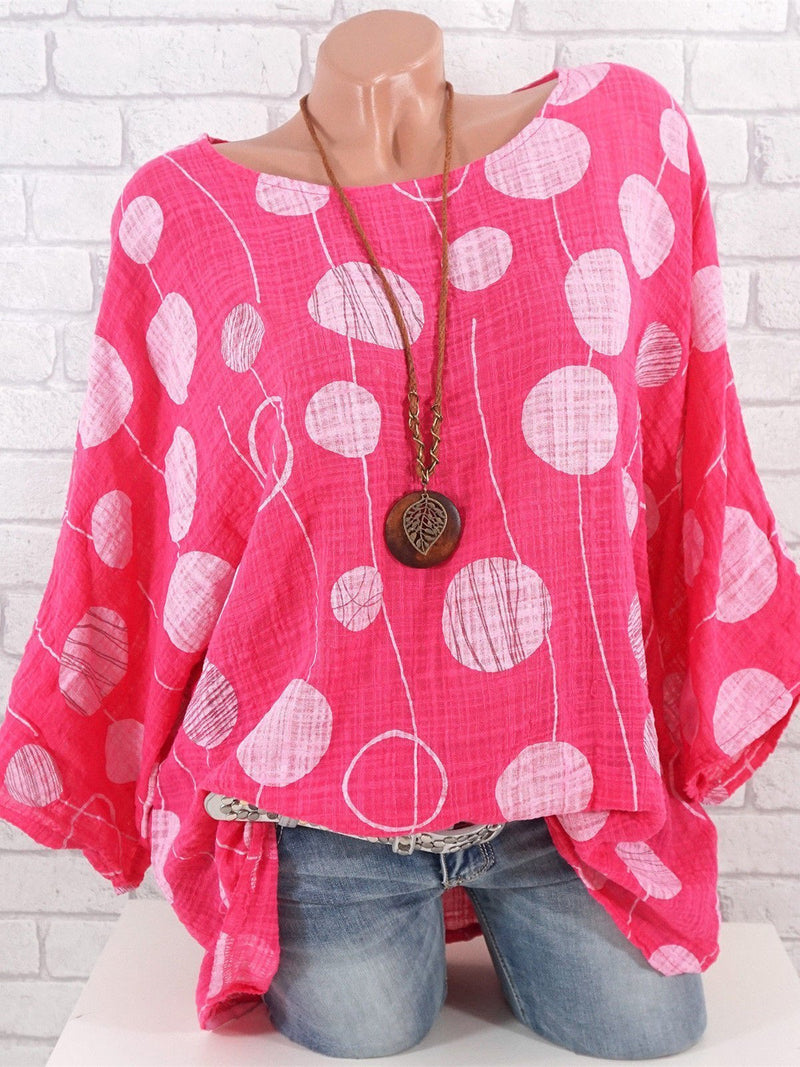 Polka Dots Crew Neck Batwing Cotton-Blend Half Sleeve Top