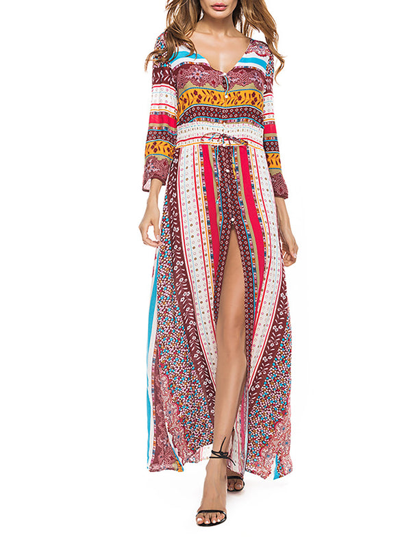 Boho Red Holiday Floral Chiffon Shift Maxi Dress
