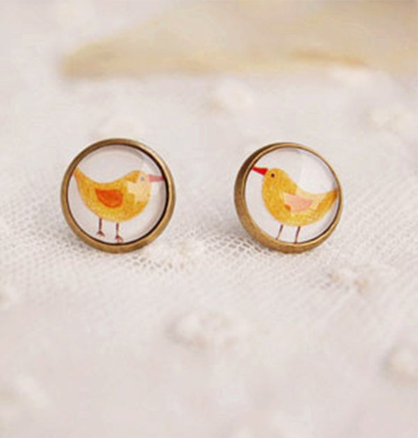 Sweet Glass Bronze Bird Earring Stud