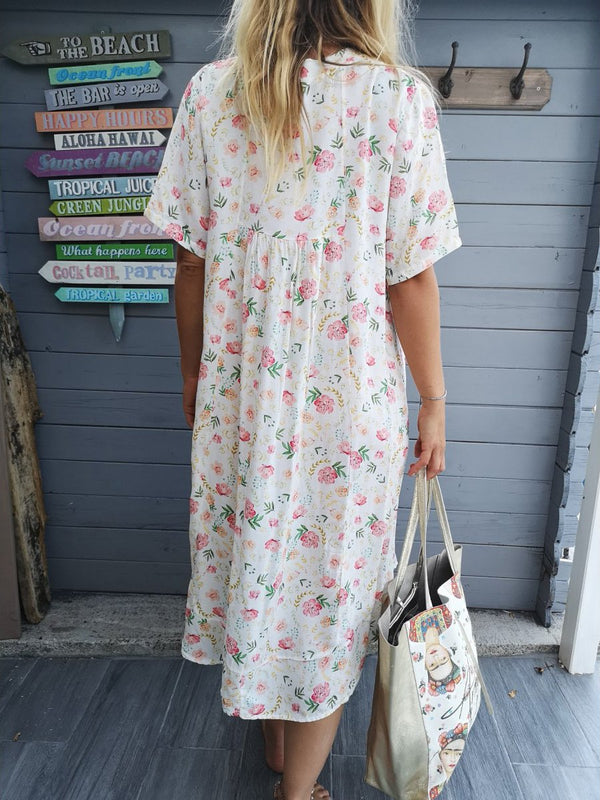 Short Sleeve V Neck Casual Floral Dresses