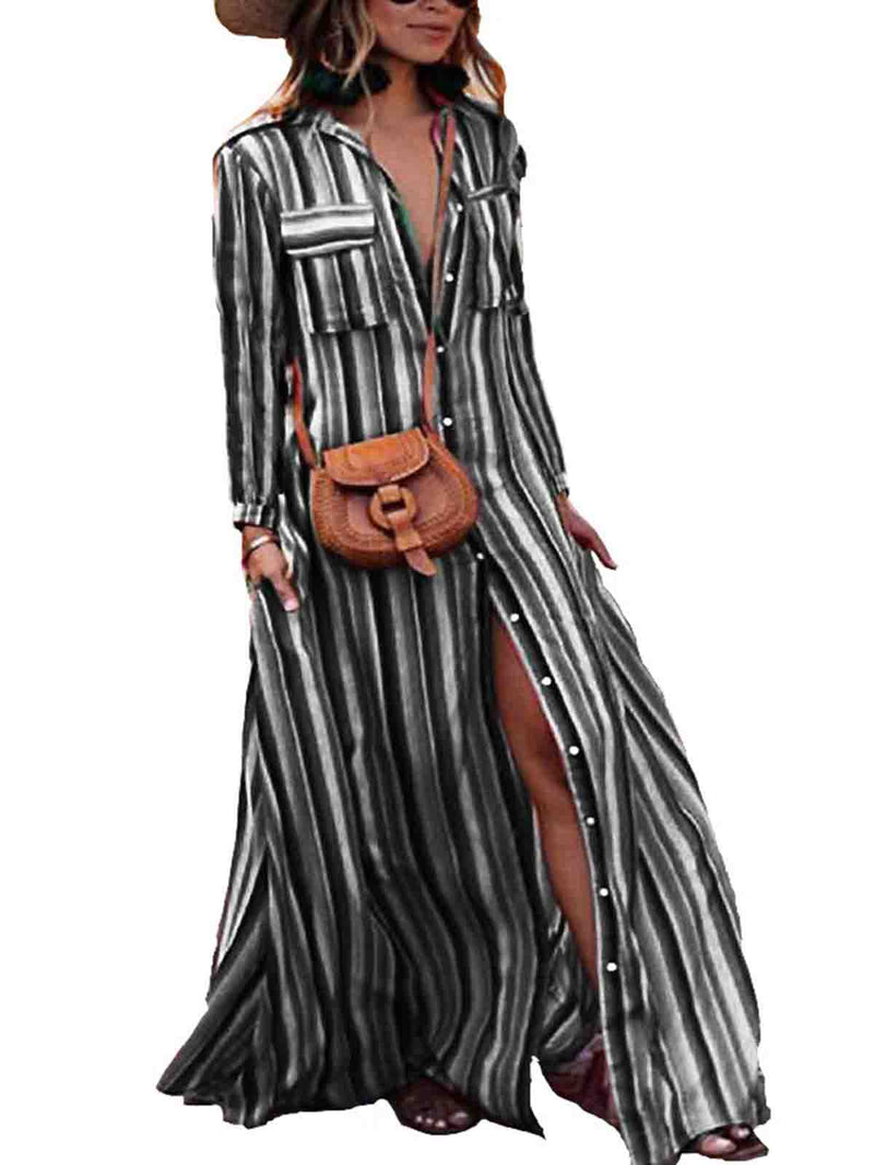 Printed Long Sleeve Striped Dresses