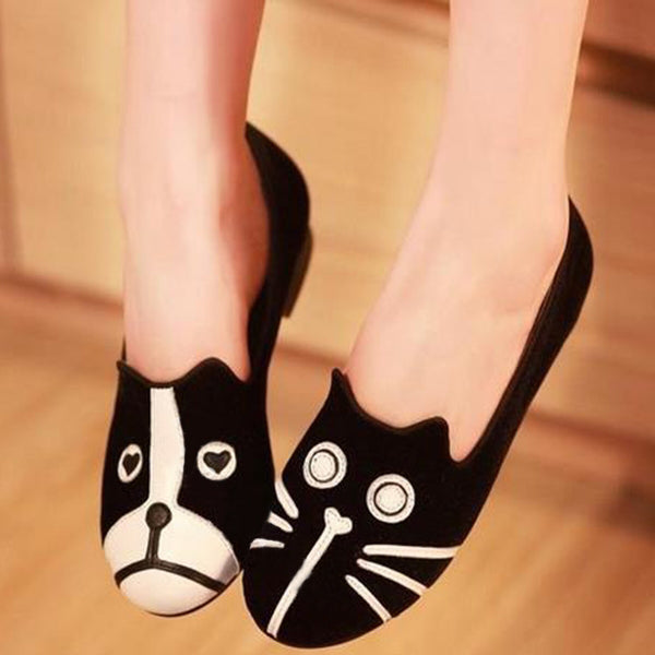 Cat and Dog Pattern Loafers
