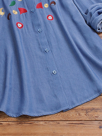 Blue Sweet Cotton Shirts & Tops