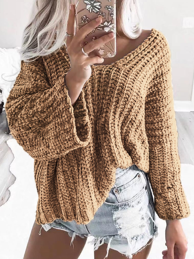 Long Sleeve Crew Neck Casual Knitted Outerwear