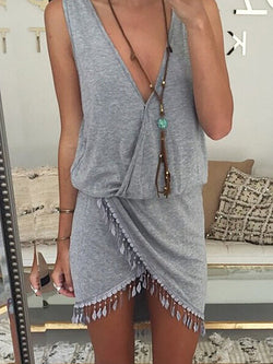 V neck Women Summer Dress Sheath Daily Sleeveless Boho Dress