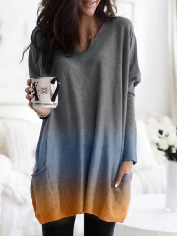 Ombre Color V-neck Long Sleeve T-shirt