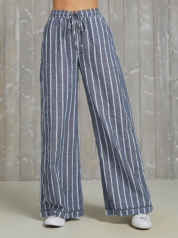 Striped Bell Bottom Plus Size Pants