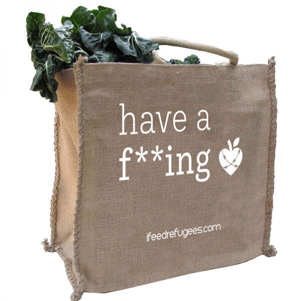 i feed refugees reusable shopping bag made from jute