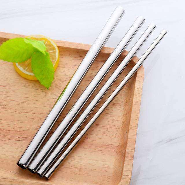 STAINLESS STEEL STRAWS 4 PACK  - SILVER - HappyStraws