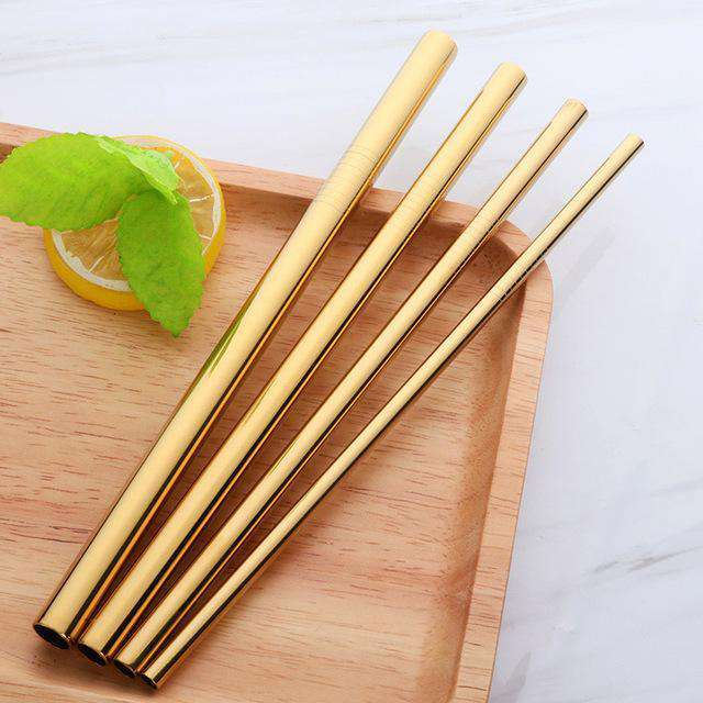 STAINLESS STEEL STRAWS 4 PACK - GOLD - HappyStraws