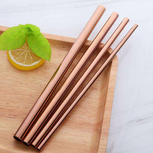STAINLESS STEEL STRAWS 4 PACK - ROSE GOLD - HappyStraws